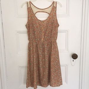 Salmon Mini Dress w Teal Floral Detailing and Lace